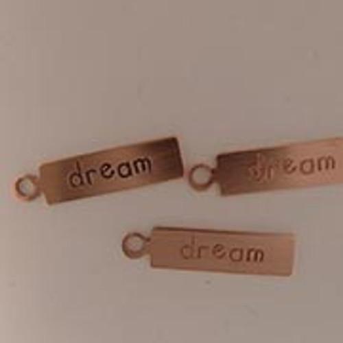 """Copper Rectangle Tag """"Dream"""""""