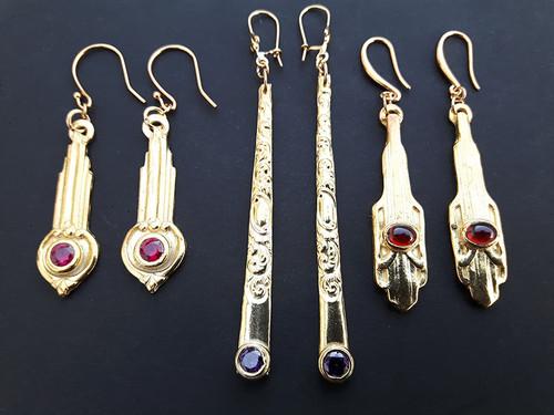 14-2PA Gold Plated Vintage Dangle Earrings