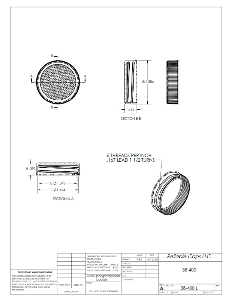 38-400 'Standard Weight' lid - engineering drawing