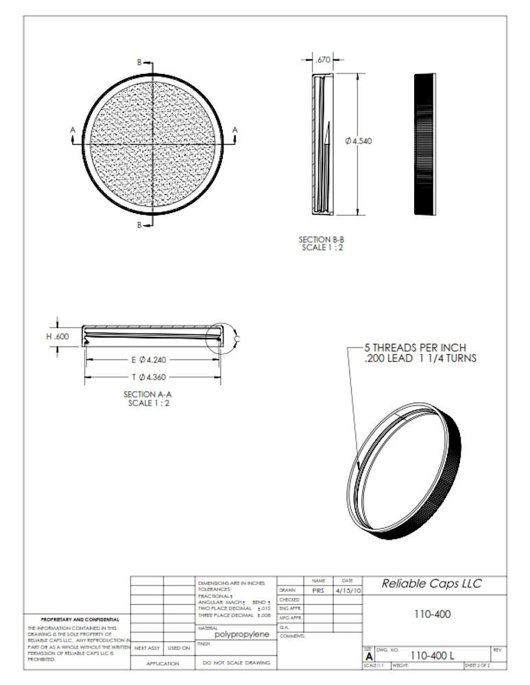 110-400 lid - engineering drawing