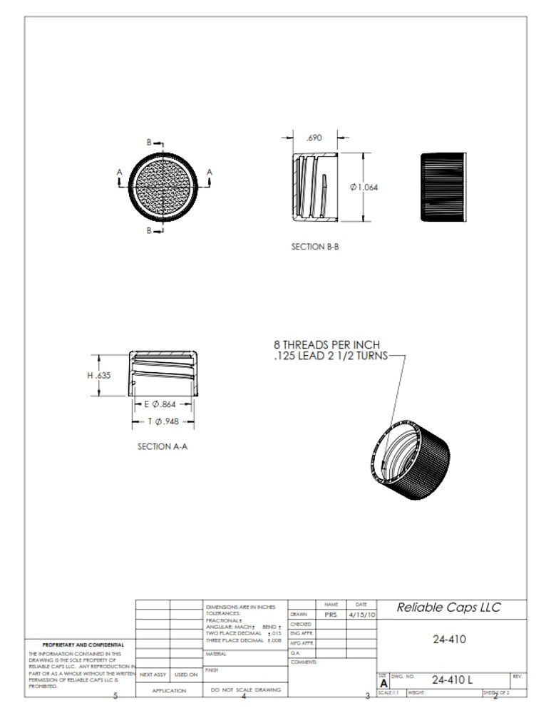 24-410 lid - engineering drawing
