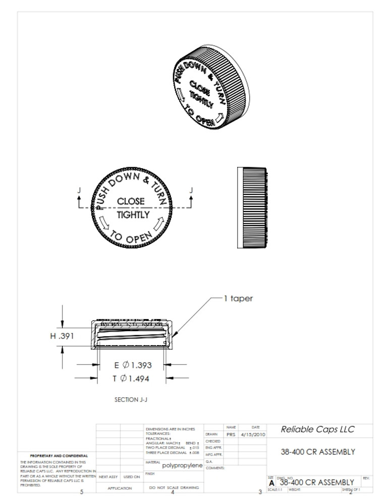 38-400 Child Resistant overcap - engineering drawing