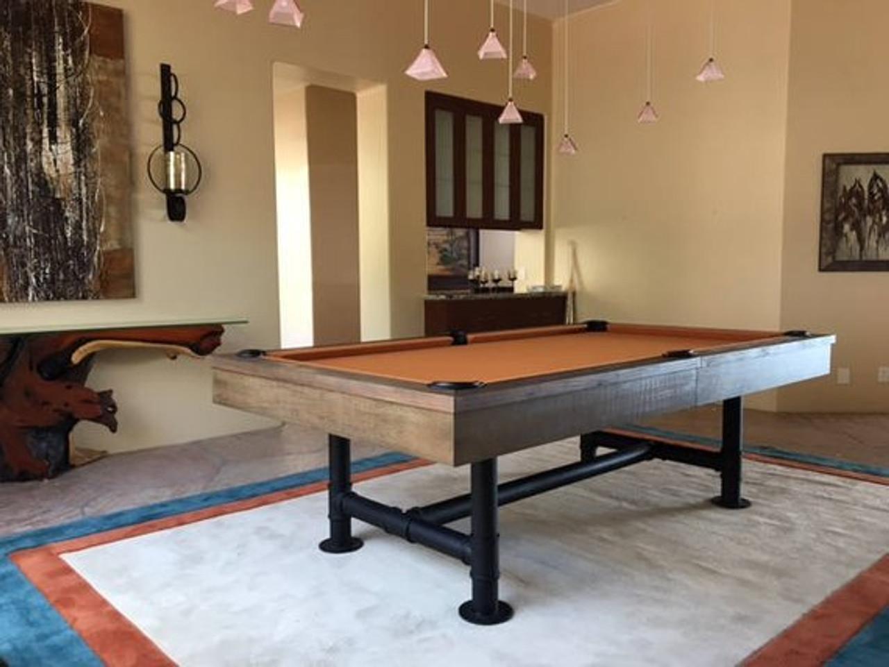 Industrial Style Pool Table W Iron Bar Legs Prestige Billiards