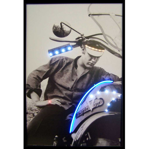 Elvis on Motorcycle LED illuminated neon picture
