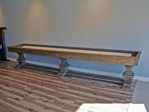 Beaumont Shuffleboard Table | 12 or 14 foot | Silvered Oak Finish | Oak Wood | Plank and Hide | SKU# 11077