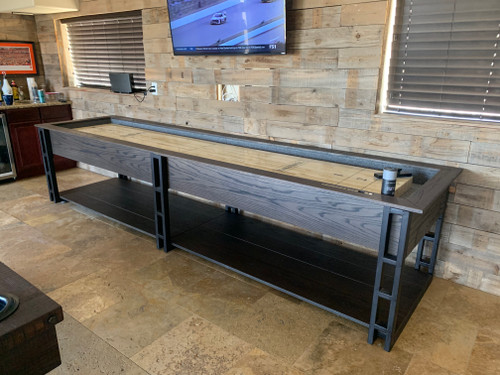Ryker Shuffleboard Table | 12 or 14 foot | Smoke House finish | Oak Wood | Plank and Hide | SKU #11053