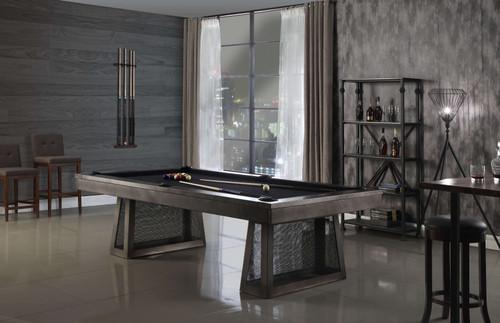 Ixabel Steel Pool Table   8 foot   Gun Metal Grey   Plank and Hide   P&H   SKU #28001-Gun