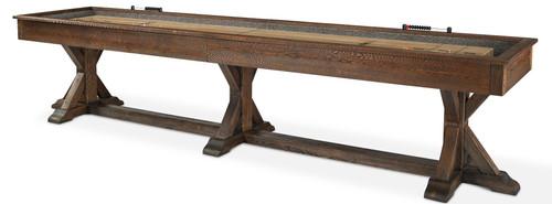 Thomas Shuffleboard | 12 or 14 foot | Burnished Brown finish | Plank and Hide | SKU# 11134