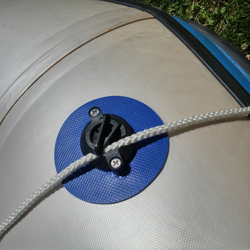 Mounted on an inflatable dinghy for anchoring. Peel-and-stick VHB adhesive keeps the cleat fastened to the surface.   4.125 inch diameter.