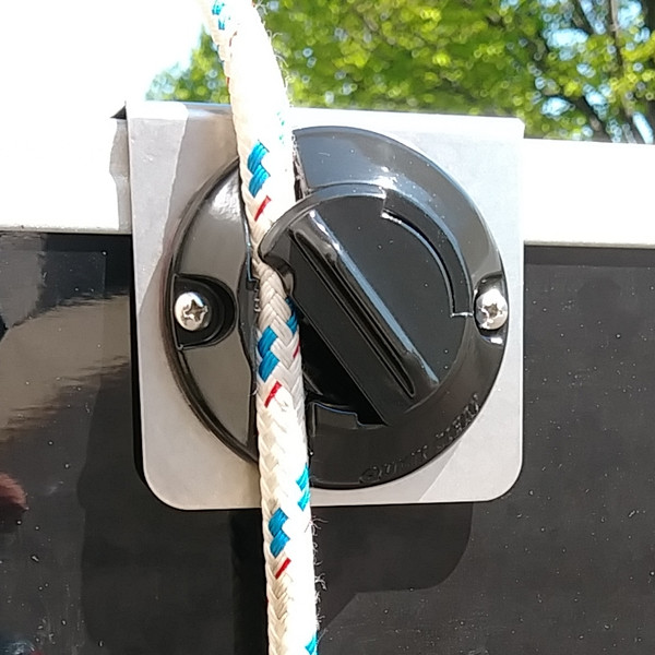 """Heavy-duty Fender Clip by Quick Cleat.   All metal construction for larger pontoon boats.  No-knot solution for easy fender adjustment for pontoon boats. Fits 1.25"""" square rails.  No drilling required.  Stainless steel bracket."""