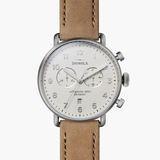 Shinola Canfield 2 Eye Chronon Ivory dial 43mm Oatmeal Leather Strap