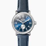Shinola Runwell Midnight Blue dial Sub Second 41mm Ocean Leather Strap