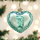Baby Boy Footprint on Heart ornament