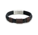 Journey Men's Black Leather Adjustable Bracelet
