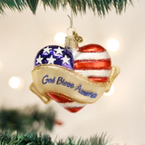 God Bless America Heart Ornament