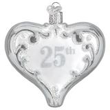 25th Anniversary Silver Heart ornament