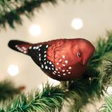 Strawberry Finch ornament (clip on)