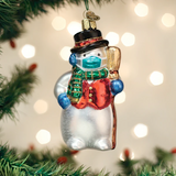 Snowman with Face Mask ornament