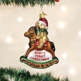 Rocking Horse Teddy Baby's First Christmas ornament
