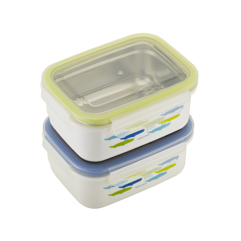 Keepin' Fresh Stainless Bento Snack or Lunch Box with Lid for Kids and Toddlers - 15 oz - Alligator