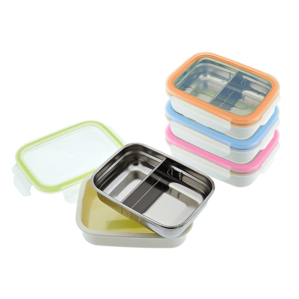 Keepin' Fresh Stainless Steel Divided Bento Snack Box with Lid for Kids and Toddlers - BPA Free, 11 oz.