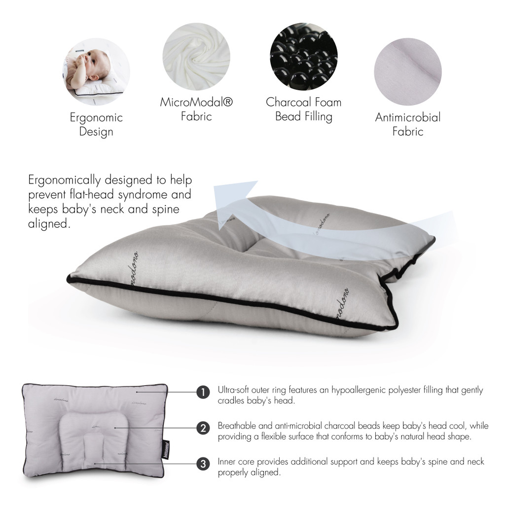 Dono&Dono Baby Playtime Pillow with Charcoal Beads, Prevent Flat Head Syndrome.  (Grey or White)