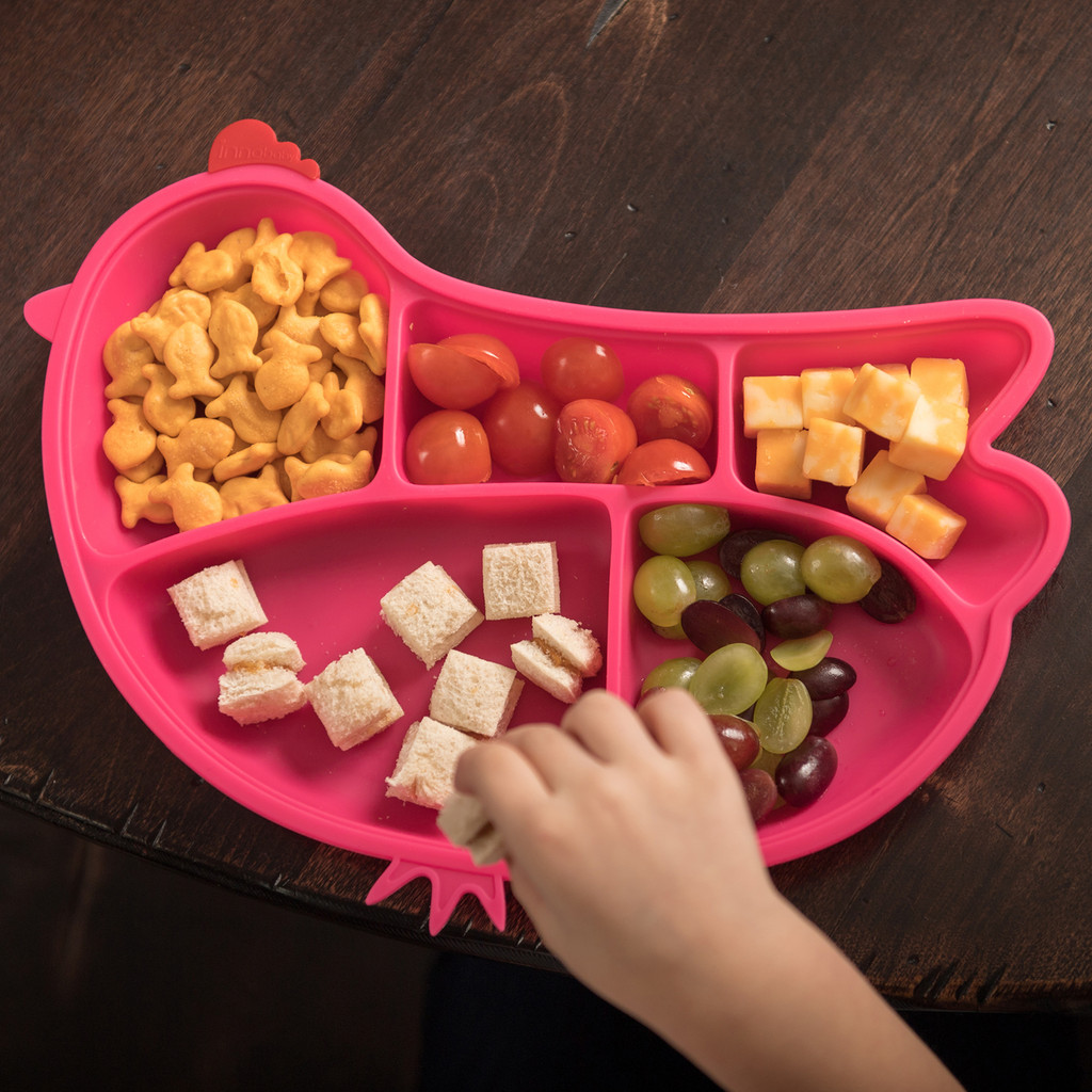 DIN DIN SMART Silicone Suction Divided Chicken Plate (Multiple Colors)