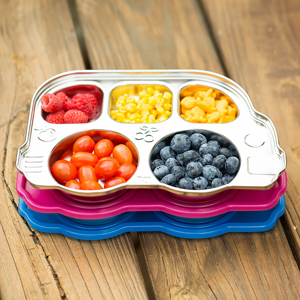 DIN DIN SMART STAINLESS DIVIDED PLATTER WITH SECTIONAL LID (MULTIPLE COLORS)