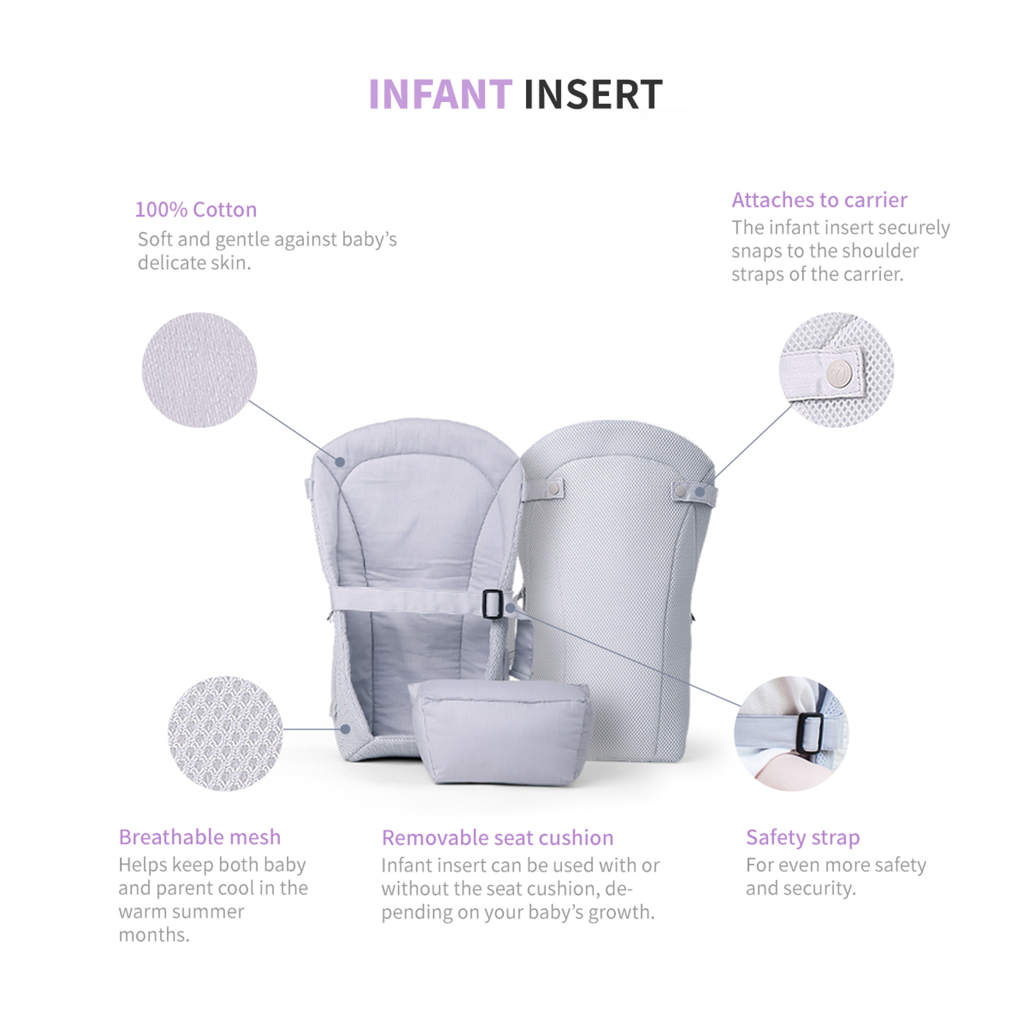 0dd9a79b90d One Touch Magnetic Lightweight Baby and Toddler Carrier - Infant Insert