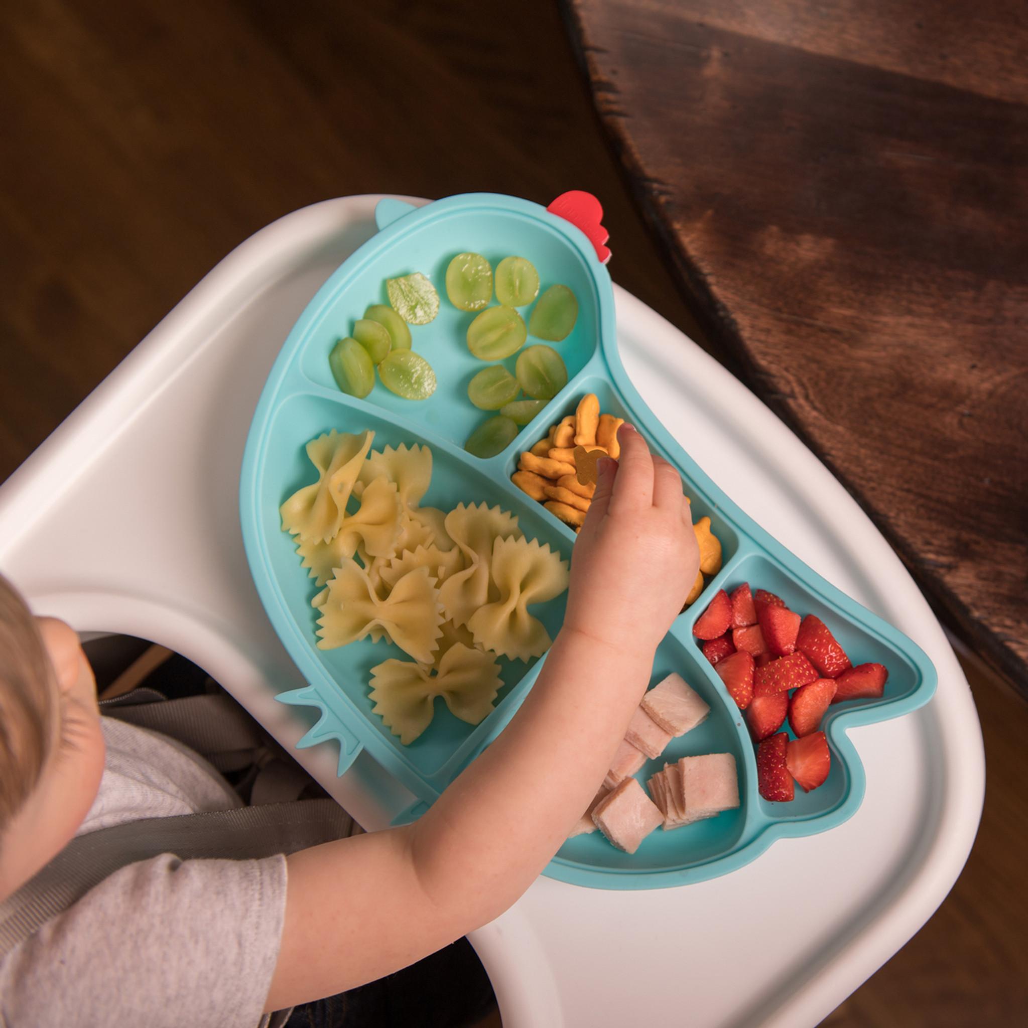 Kids Dinner Plate Divided Dish Tray Baby Food Feeding Tableware J