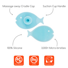 Bathin' Smart Silicone Mini Fish Scrub with Suction Cup for cradle cap