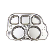Din Din Smart Stainless Divided Platter, Stainless Steel Divided Plate for Babies, Toddlers and Kids, BPA free plate