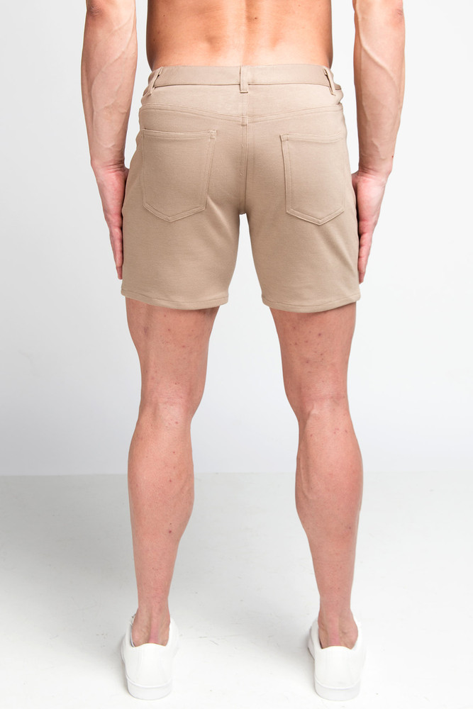 St33le Khaki Stretch Knit Jean Shorts