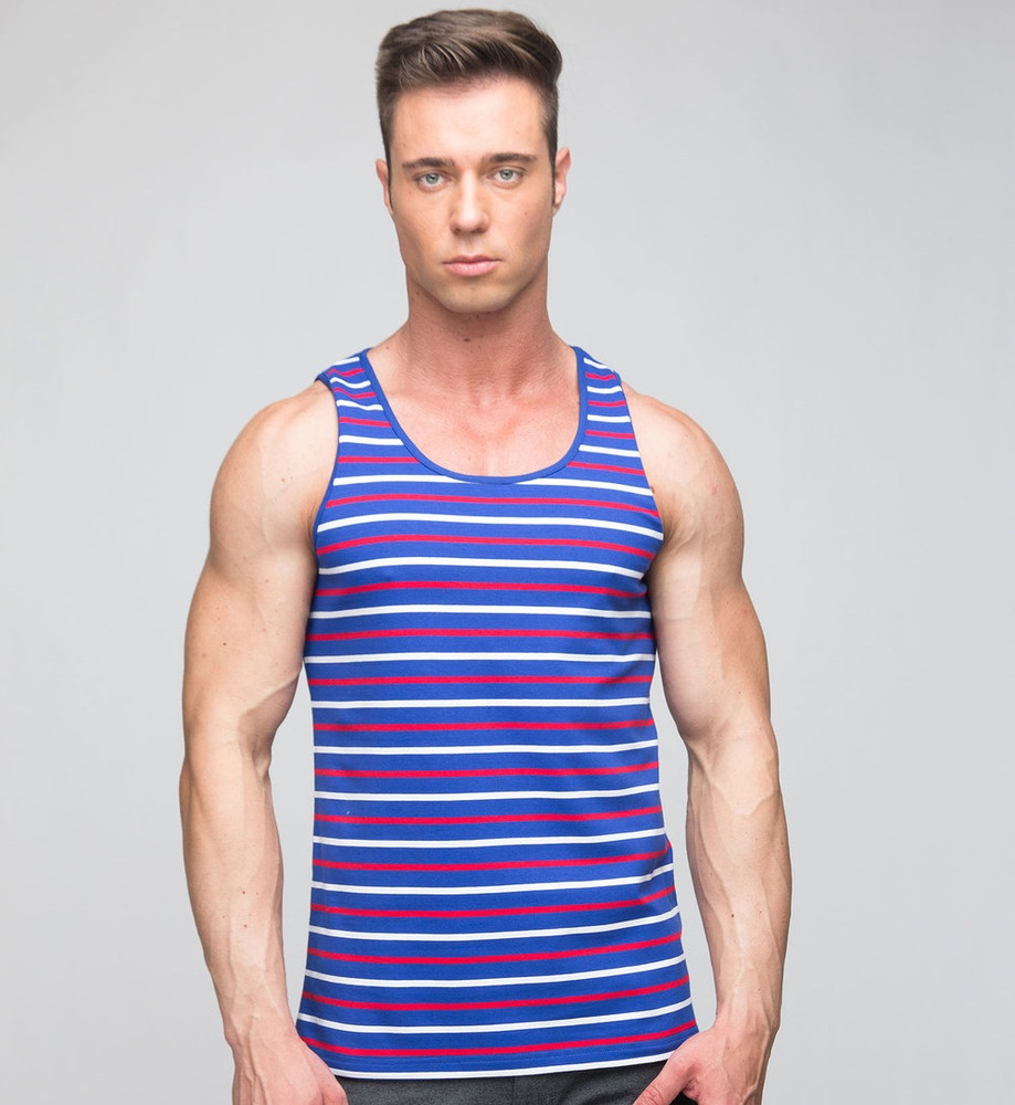 St33le Royal & Red Striped Jersey Stretch Tank