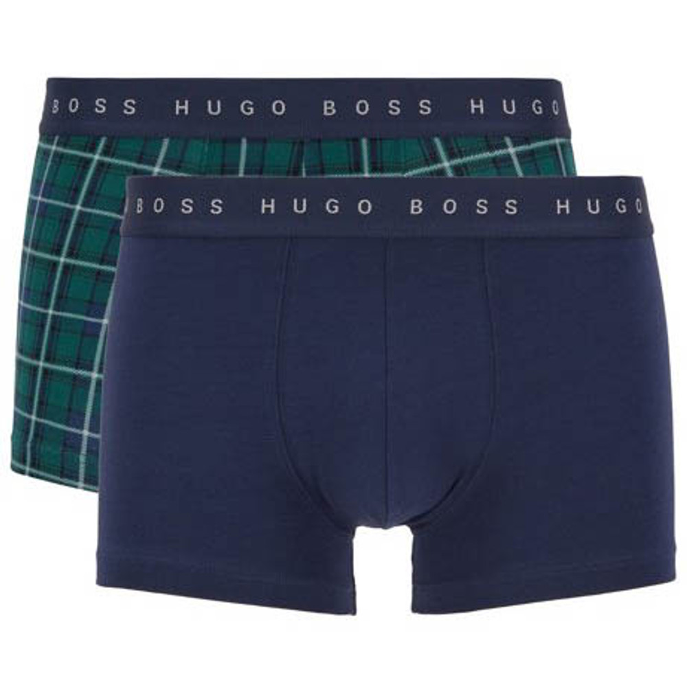 Hugo Boss Navy and Green Plaid Cotton Trunk Gift Set
