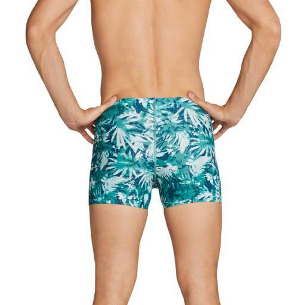 Speedo Square Leg Printed Fitted Trunk - Green