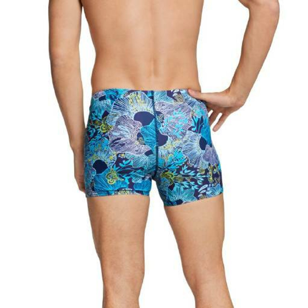 Speedo Square Leg Printed Fitted Trunk - Peacoat