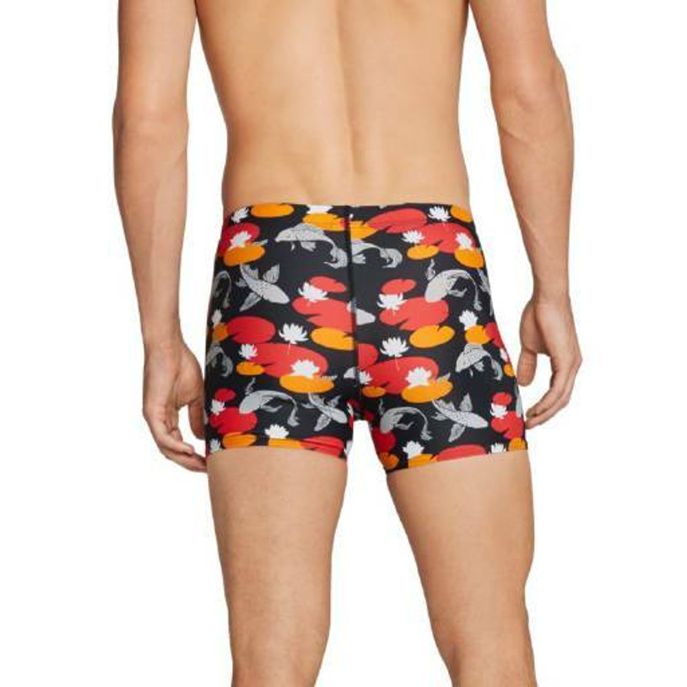 Speedo Square Leg Printed Fitted Trunk - Black/Red