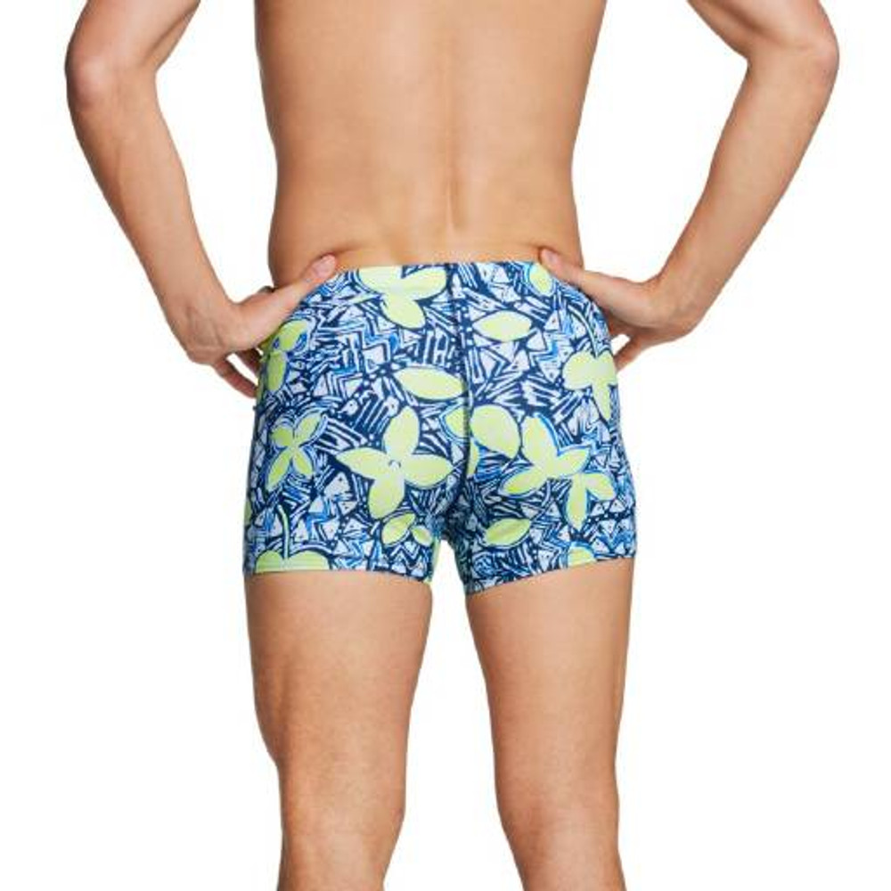 Speedo Square Leg Printed Fitted Trunk - Safety Yellow