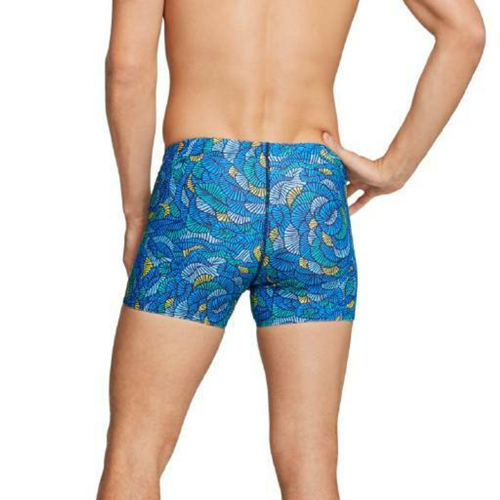 Speedo Square Leg Printed Fitted Trunk - Blue/Yellow
