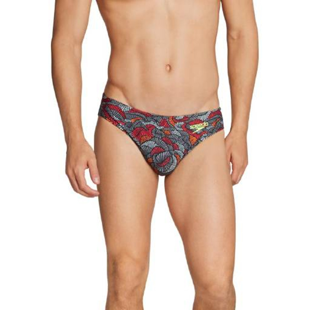 Speedo Printed Bikini Brief - Black/Orange