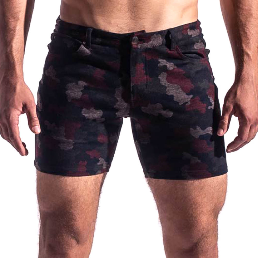 St33le Red Camo Stretch Knit Jean Shorts