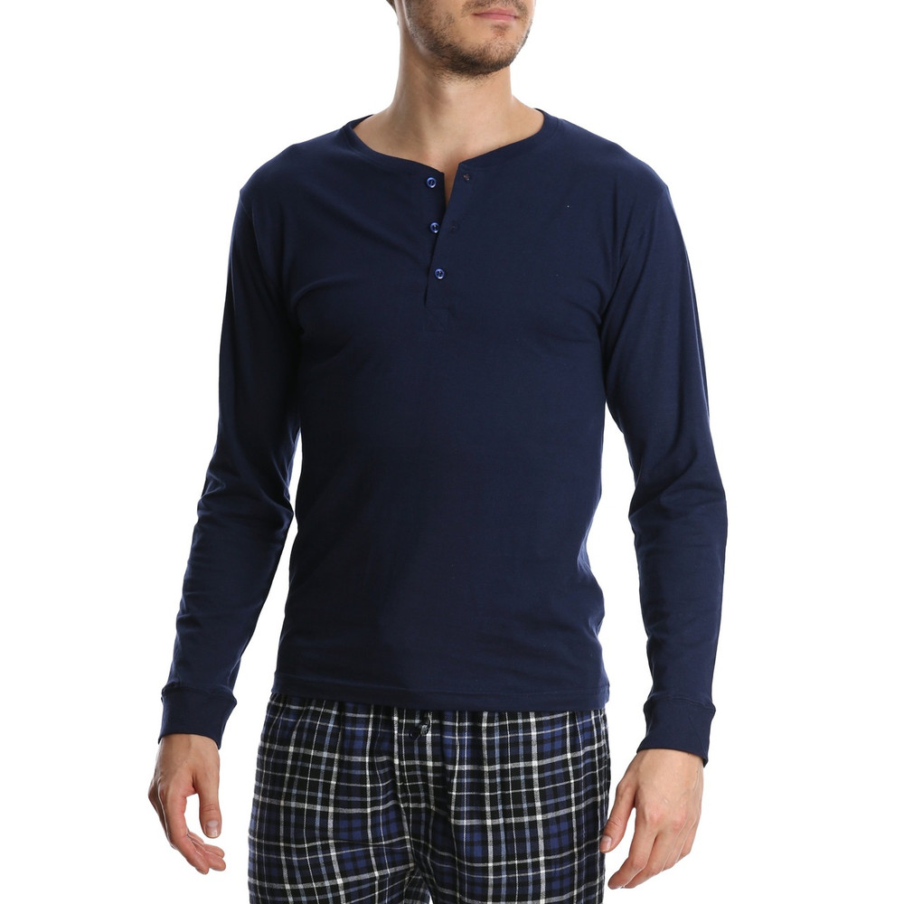 Bottoms Out Long-Sleeve Henley- Navy