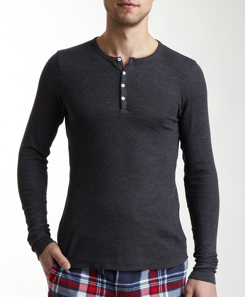 Bottoms Out Long-Sleeve Henley- Charcoal