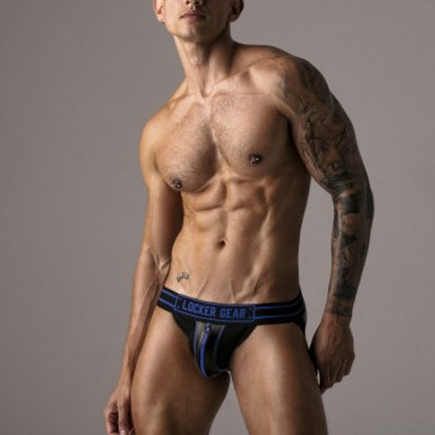 Locker Gear Front Zipper Jockstrap - Blue