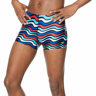 Speedo Square Leg Printed Fitted Trunk - Bittersweet