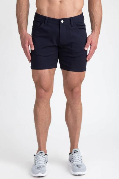 St33le Navy Stretch Knit Jean Shorts