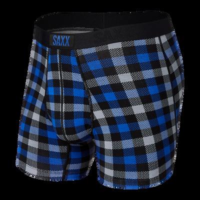 SAXX Vibe Boxer Brief - Blue Flannel Check