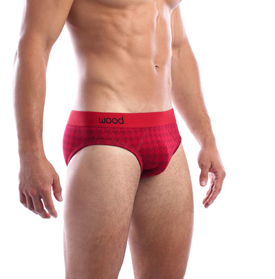 Wood Red Houndstooth Jacquard Brief