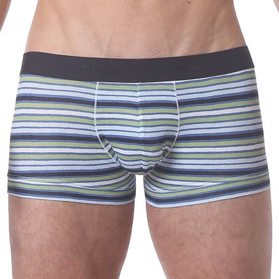 Parke and Ronen Polygraph Stripe Microfiber Low Trunk - Blue